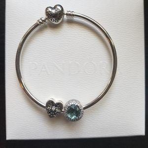925 Pandora Bangle Bracelet w/ charms